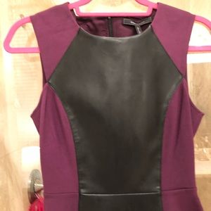 Purple and Black Faux Leather Peplum
